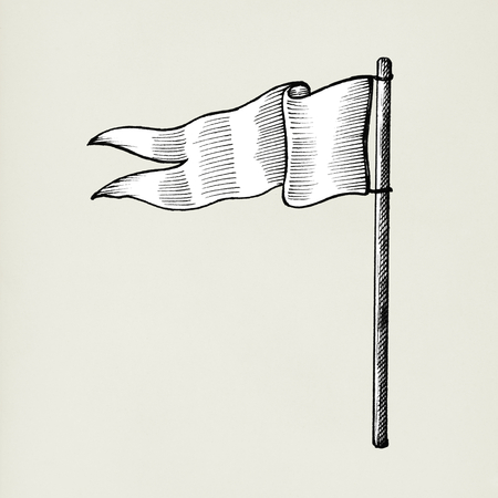 Hand gezeichnete weiße Flagge lokalisiert auf Hintergrund Standard-Bild - 99963914