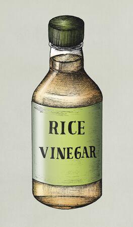 Hand drawn komezu rice vinegar