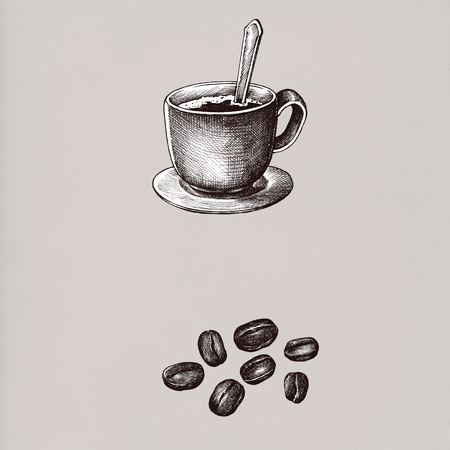Hand drawn coffee drinks vintage drawing style Imagens