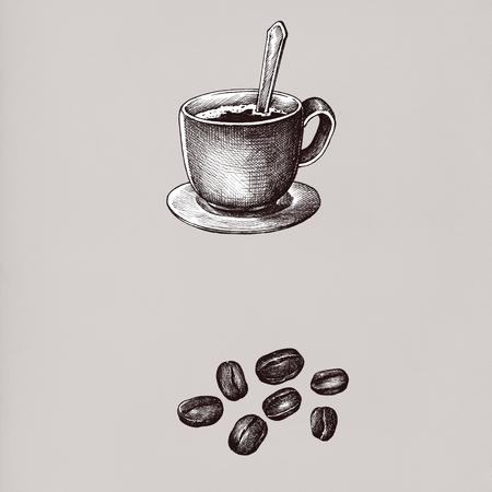 Hand drawn coffee drinks vintage drawing style Stok Fotoğraf