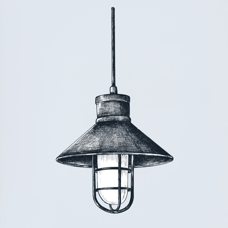 Ceiling light vintage style illustration 스톡 콘텐츠