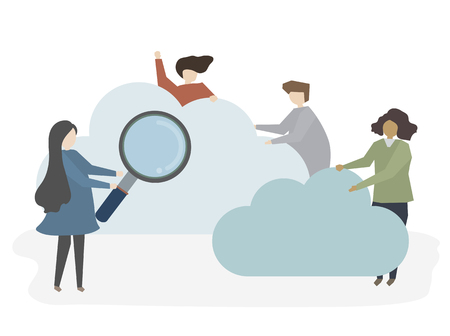 Illustration of people searching and browsing Stock Photo