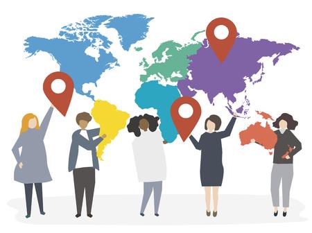 Illustration of international diverse people
