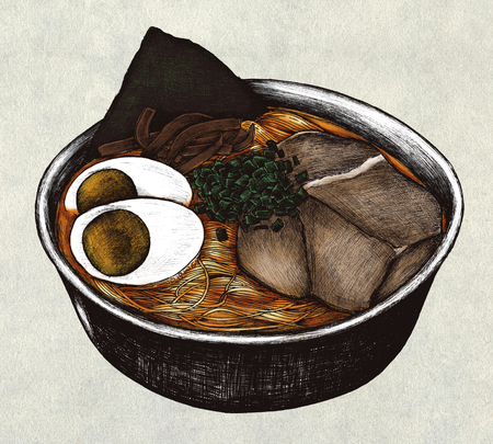 Hand drawn ramen Japanese dish