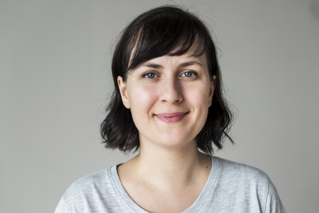Portrait of cheerful Caucasian woman