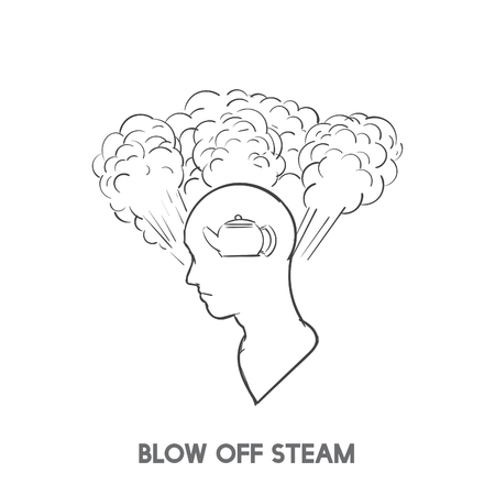 Blow off steam idiom illustration 版權商用圖片