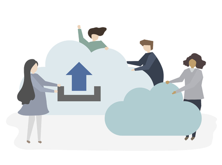 Illustration of people with cloud