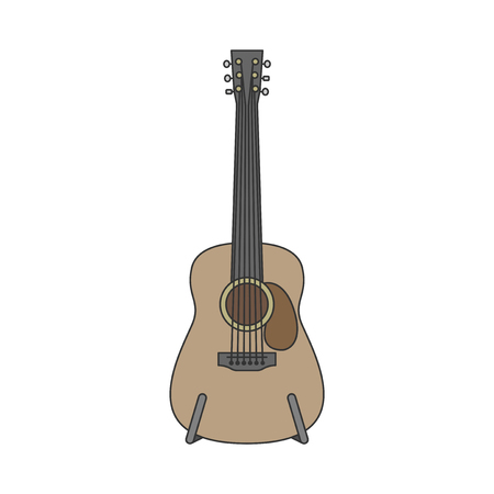 Acoustic guitar illustration isolated on white