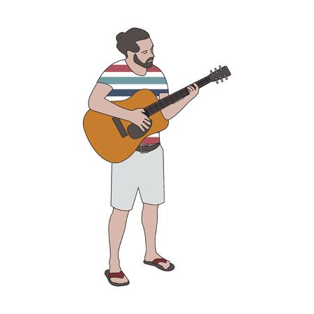 Illutrated bearded man playing guitar 版權商用圖片