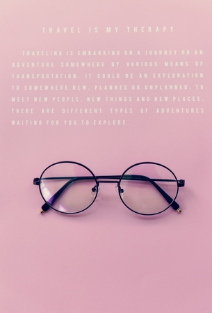 Hipster Eyeglasses Against a Pink Background