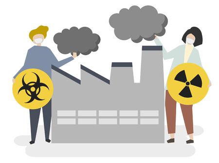 Industrial biohazards, radioactive and air pollution concept