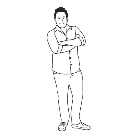 Illustrated mature man with casual wear