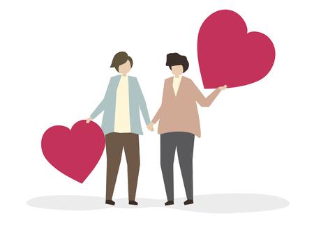 Romantic couple in love illustration Stock fotó
