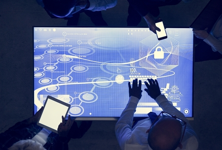 People in a technology cyber space meeting