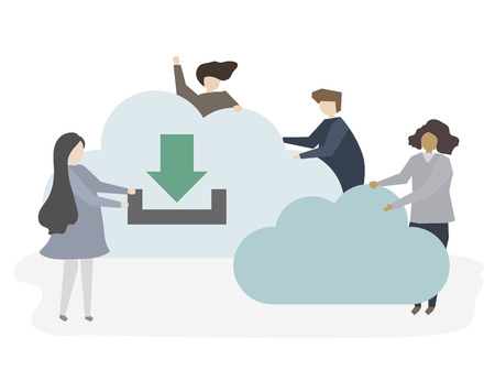 Illustration of people with cloud Banco de Imagens - 100102199