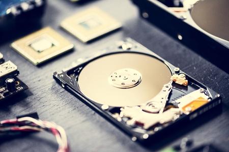 Closeup of computer hard disk drive Imagens