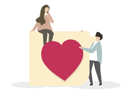 Romantic couple in love illustration Stock Photo