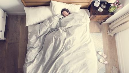 Caucasian woman sleeping soundly Imagens