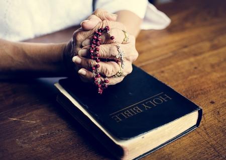 Hands prayer faith in christianity religion 写真素材