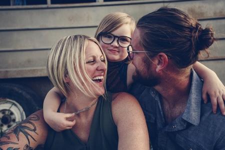Happy caucasian family Stock Photo