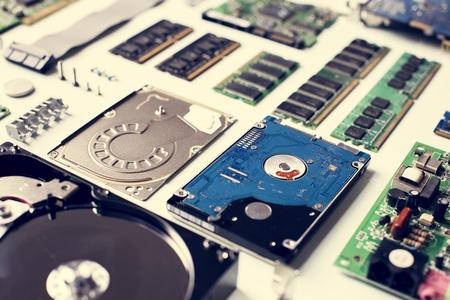 Nahaufnahme des Computerfestplattenlaufwerks Standard-Bild