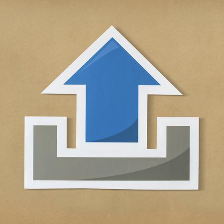 Symbol of upload technology icon