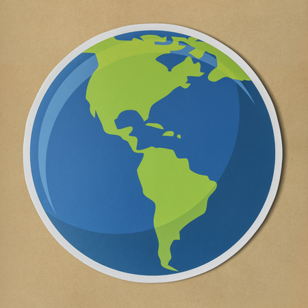 Cut out paper globe icon