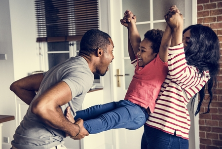 Black family spending happiness time together Stock Photo