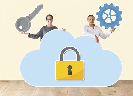 People holding cloud and security icons Stock Photo