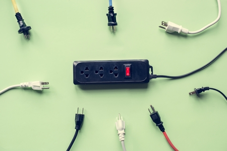 Electricity power supply plug and outlet  Stockfoto