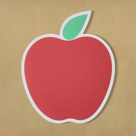 Red apple icon with leaf Stock Photo