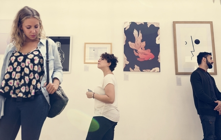 People in an art exhibition