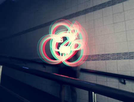 Lights drawing long exposure technique 写真素材