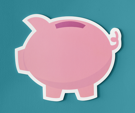 Pink piggy bank savings icon Фото со стока