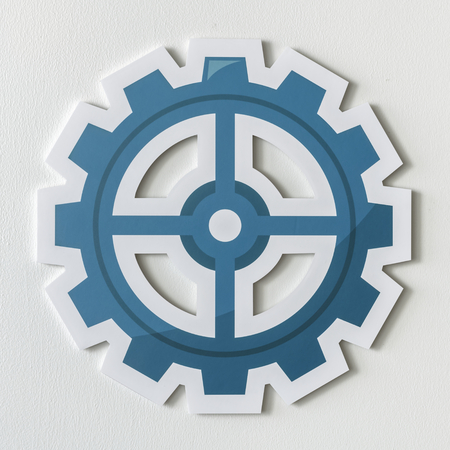 Paper craft of cog wheel icon
