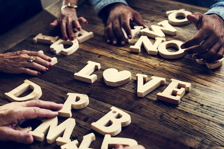 A wooden alphabet love word on the table