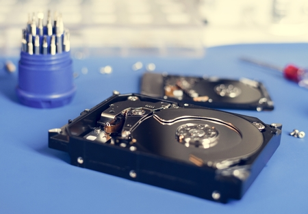 HDD open ready to repair on the table Standard-Bild - 100101853