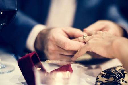 Couple celebrate valentine's day together Stock Photo