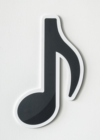 Musical note audio cut out icon