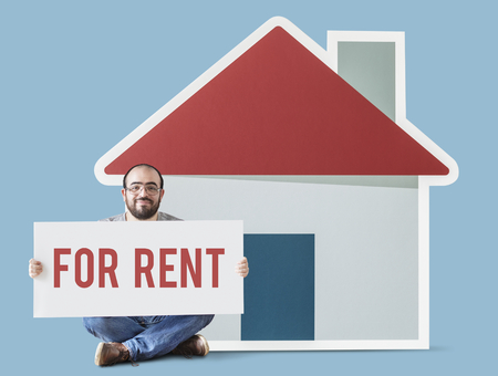 Man with house for rent concept