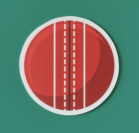 Round red cricket ball icon