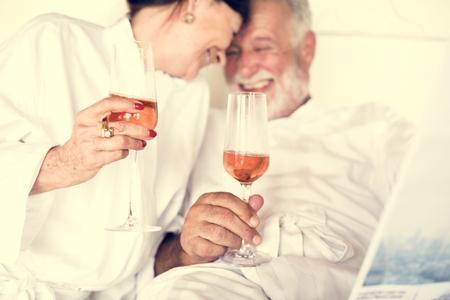 Senior couple toasting