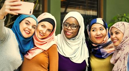 Muslim friends taking a selfie