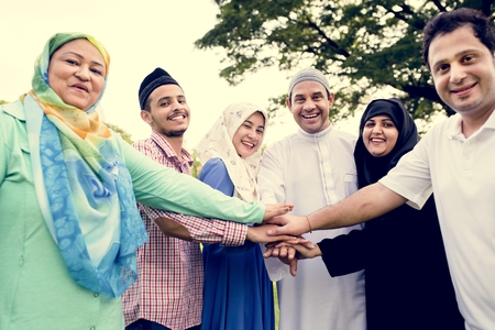 Muslim people with unity concept 免版税图像
