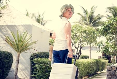 Senior woman on vacation  Stock Photo