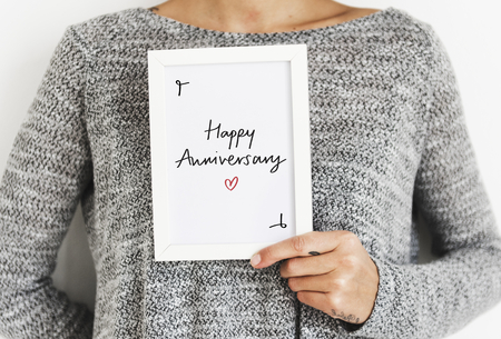 Phrase Happy Anniversary in a frame