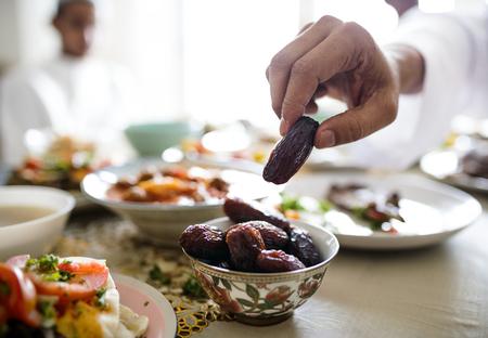 Suhoor- of Iftar-maaltijd uit het Midden-Oosten Stockfoto