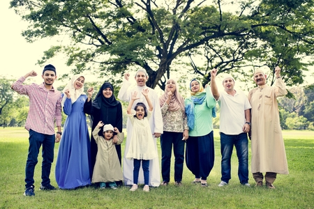 A happy large Muslim family Stock Photo - 102862874