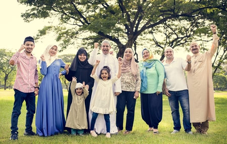 A happy large Muslim family Stock Photo - 102861216