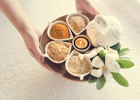 Massage herbs Stock Photo